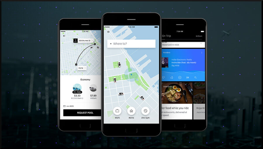 Redesigned Uber app for riders